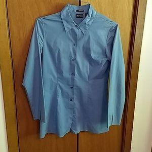 New York & Company City Stretch Blouse Blue